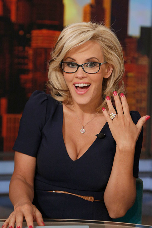 Jenny McCarthy shows off her yellow sapphire engagement ring on ABC's 'The View' on April 16, 2014. McCarthy, a co-host on the show, announced her engagement to Donnie Wahlberg on the show that morning.