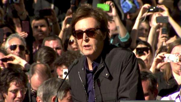 Paul McCartney thanked his fellow members of the Beatles at his Hollywood Walk of Fame acceptance speech on Feb. 9, 2012.