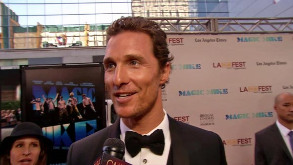 Matthew McConaughey talks to OnTheRedCarpet.com at the Hollywood premiere of 'Magic Mike' on June 24, 2012.