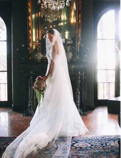 Rose McGowan posted this photo of herself in her wedding gown on her Instagram page on Oct. 24, 2013.