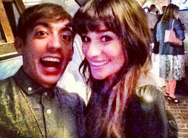 Kevin McHale posted this photo of himself celebrating with Lea Michele, his &#39;Glee&#39; co-star, after Barack Obama was re-elected on Nov. 6, 2012. <span class=meta>(twitter.com&#47;druidDUDE&#47;status&#47;266038845181657088)</span>