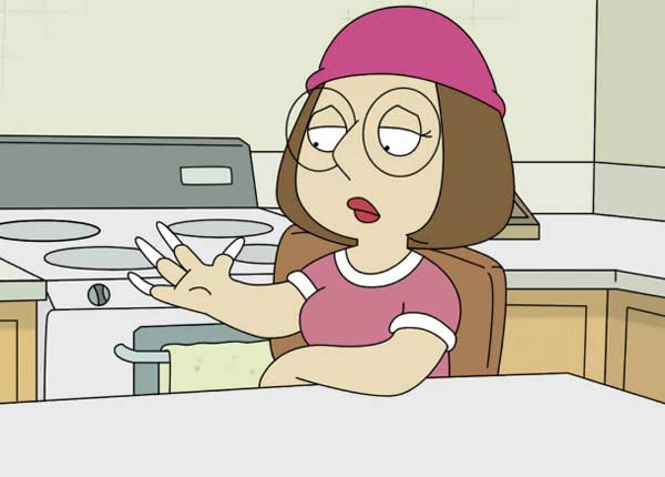 Mila Kunis' character, Meg Griffin, appears in a scene from the TV show 'Family Guy.'