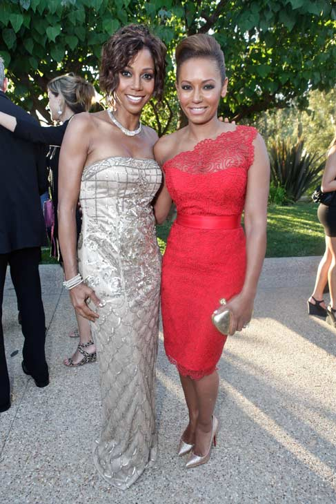 Melanie Brown, aka Mel B. of the Spice Girls and a &#39;Dancing With The Stars&#39; season 5 finalist, and Holly Robinson Peete attend the HollyRod Foundation&#39;s 14th Annual Design Care event on July 21, 2012 in Malibu, California. Mel B. is wearing a red, one shoulder lace Romona Keveza RTW Spring 2012 dress, gold Christian Louboutin pumps and an Alexander McQueen clutch. <span class=meta>(Vivien Killilea &#47; WireImage)</span>
