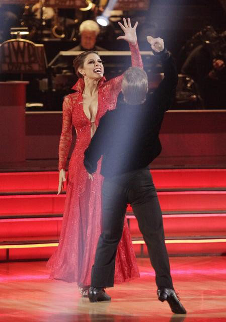 TV personality Maria Menounos and her partner Derek Hough react to being safe from elimination on 'Dancing With The Stars: The Results Show' on Tuesday, May 1, 2012.