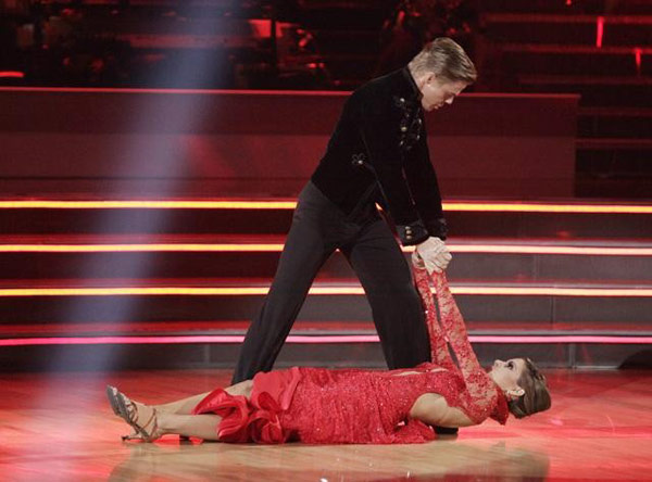 "<div class=""meta ""><span class=""caption-text "">TV personality Maria Menounos and her partner Derek Hough react to being safe from elimination on 'Dancing With The Stars: The Results Show' on Tuesday, May 1, 2012. The pair received 30 out of 30 points from the judges for their Paso Doble and 27 out of 30 for their role on Team Tango on week seven of 'Dancing With The Stars,' which aired on April 30, 2012. (ABC)</span></div>"