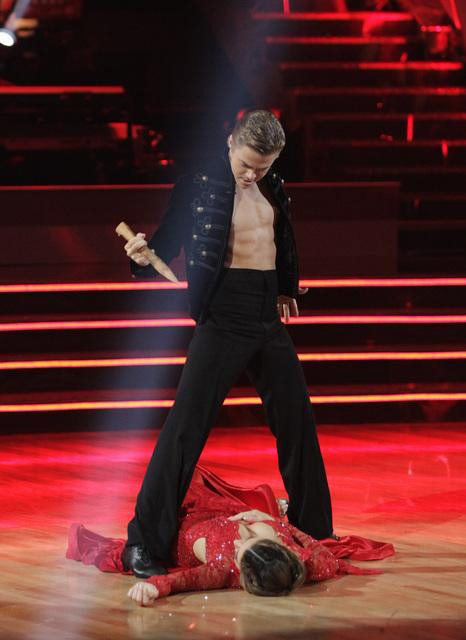 TV personality Maria Menounos and her partner Derek Hough react to being safe from elimination on &#39;Dancing With The Stars: The Results Show&#39; on Tuesday, May 1, 2012. The pair received 30 out of 30 points from the judges for their Paso Doble and 27 out of 30 for their role on Team Tango on week seven of &#39;Dancing With The Stars,&#39; which aired on April 30, 2012. <span class=meta>(ABC)</span>