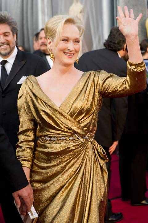 Meryl Streep arrives for the 84th Annual Academy Awards from Hollywood, Calif. Feb. 26, 2012. The actress sparkled in a gold, custom-made Lanvin gown which she accessorized with a Lanvin woven gold and strass chain link belt and Salvatore Ferragamo sandals.  The 2013 Oscar ceremony is scheduled to air February 24 on ABC.  <span class=meta>(Heather Ikei &#47; A.M.P.A.S.)</span>