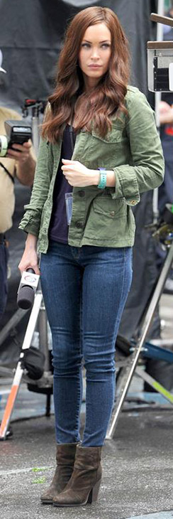 Megan Fox films the 2014 movie 'Teenage Mutant Ninja Turtles' in New York on July 22, 201