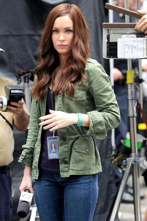 Megan Fox films the 2014 movie 'Teenage Mutant Ninja Turtles' in New York on July 22, 2013. She plays
