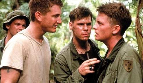 Michael J. Fox and actor Sean Penn appear in a scene from the 1989 film 'Casualties of War.'