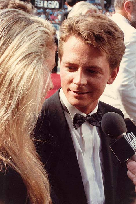 Michael J. Fox appears in a photo from the 40th Emmy Awards in August 1988 alongside his wife actress Tracy Pollan.