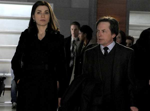 Michael J. Fox appears in a photo from 'The Good Wife' with his co-star Julianna Margulies.