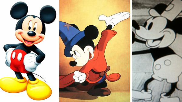 Mickey Mouse today / Mickey Mouse appears in a scene from the 1940 film 'Fantasia' in a segment called 'The Sorceror's Apprentice. / Mickey Mouse appears in a scene from the 1928 short film 'Steamboat Willie.'