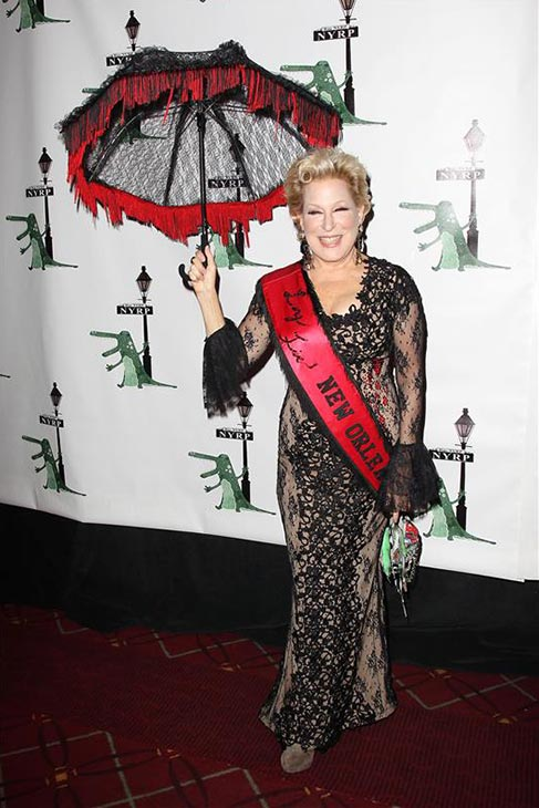Bette Midler appears in her Halloween costumes at her New York Restoration Project's annual 'Hulaween in the Big Easy' at the Waldorf Astoria in New York on Oct. 31, 2013.