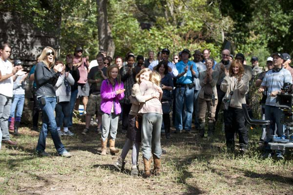 Kyla Kenedy &#40;Mika&#41;, Brighton Sharbino &#40;Lizzie&#41; and crew members appear on the set of AMC&#39;s &#39;The Walking Dead&#39; episode 14, &#39;The Grove,&#39; which aired on March 16, 2014. <span class=meta>(Gene Page &#47; AMC)</span>