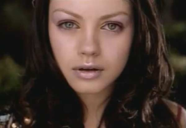 Mila Kunis appears in Aerosmith&#39;s music video &#39;Jaded,&#39; released in 2001. Kunis appears in the video as some kind of oppressed woman who longs to experience the real, outside world. At the end of the video she finally escapes, and is able to feel real life. Kunis went on to appear in films such as &#39;Forgetting Sarah Marshall,&#39; &#39;The Book of Eli&#39; and &#39;Black Swan.&#39; <span class=meta>(Colombia Records)</span>