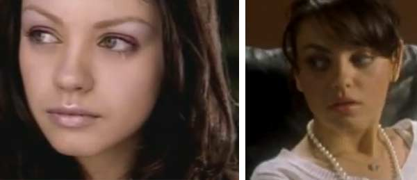 Mila Kunis appeared in Aerosmith&#39;s music video for their 2001 song &#39;Jaded&#39; and also in The Strokes&#39; music video for the group&#39;s 2003 song &#39;The End Has No End.&#39;&#40;Pictured: Mila Kunis appears in a scene from the 2001 music video &#39;Jaded.&#39; &#47; Mila Kunis appears in a scene from the 2003 music video &#39;The End Has No End.&#39;&#41; <span class=meta>(Columbia &#47; BMG)</span>