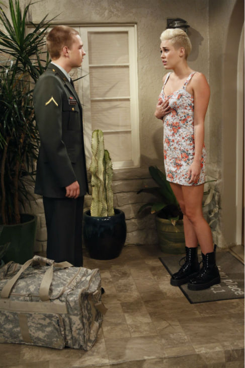 Jake &#40;Angus T. Jones, left&#41; meets Missi &#40;special guest star Miley Cyrus, right&#41; at Walden?s house, on an episode of the CBS series &#39;Two and a Half Men&#39; that aired on Oct. 18, 2012. <span class=meta>(Greg Gayne &#47; Warner Bros. Television &#47; CBS)</span>