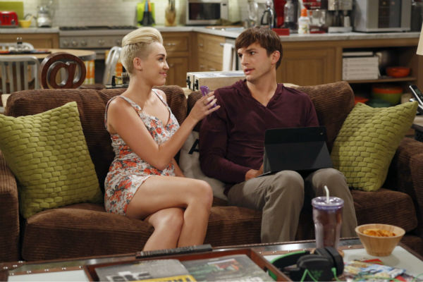 "<div class=""meta ""><span class=""caption-text "">Walden (Ashton Kutcher) and Missi (special guest star Miley Cyrus, right) appear on an episode of the CBS series 'Two and a Half Men' that aired on Oct. 18, 2012. (Greg Gayne / Warner Bros. Television / CBS)</span></div>"