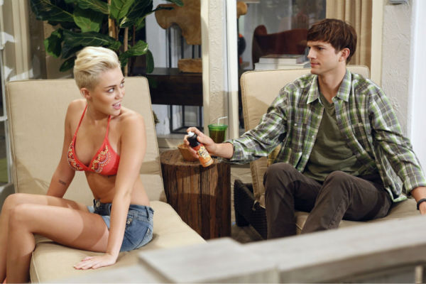 Walden (Ashton Kutcher) and Missi (special guest star Miley Cyrus, right) appear on an episode of the CBS series 'Two and a Half Men' that aired on Oct. 18, 2012.