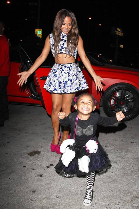 "<div class=""meta ""><span class=""caption-text "">Christina Milian, currently a contestant on ABC's 'Dancing With The Stars,' and her daughter Violet are seen near BOA Steakhouse in Los Angeles on Oct. 3, 2013. ( David Wright / Startraksphoto.com)</span></div>"