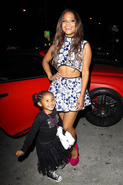 Christina Milian, currently a contestant on ABC's 'Dancing With The Stars,' and her daughter Violet are seen near BOA Steakhouse in Los Angeles on Oct. 3, 2013.