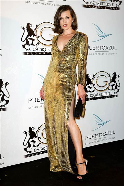 Milla Jovovich appears at the Puerto Azul Experience Party at the Cannes Film Festival in France on May 21, 2014. <span class=meta>(Nicolas Gouhier &#47; Abaca &#47; Startraksphoto.com)</span>