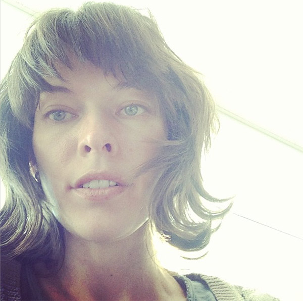 Milla Jovovich posted this photo on her Instagram page on May 13, 2013, saying: #nomakeup #exhausted #inevernoticedthatmynostrilsarentthesameshape.'