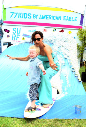 Minnie Driver and her son Henry appear at the...