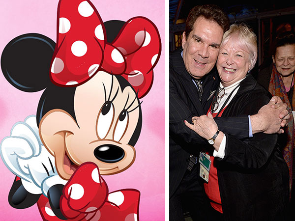 L-R: Animator Tony Anselmo and Russi Taylor, voice of Minnie Mouse, attend the 90 Years of Disney Animation celebration at Walt Disney Studios in Burbank, California on Dec. 10, 2013.