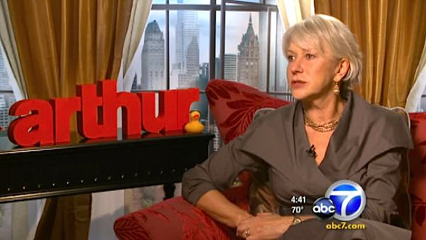 Helen Mirren speaks to OnTheRedCarpet.com correspondent George Pennacchio of parent company KABC Television about the 2011 movie 'Arthur.'