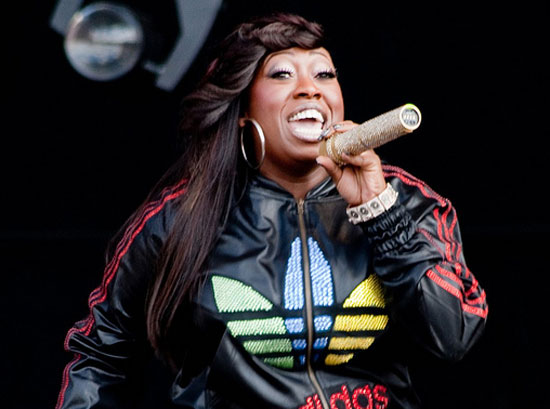 Missy Elliott performs live for a crowd on Feb....