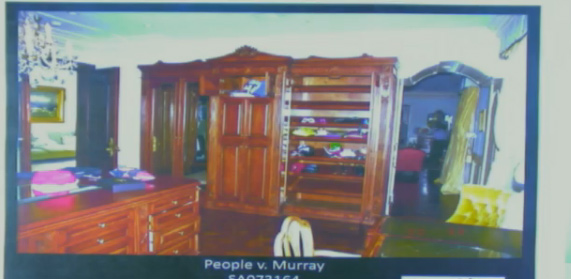 "<div class=""meta ""><span class=""caption-text "">Oct. 5, 2011: During Conrad Murray's involuntary manslaughter trial, L.A. Coroner's Office investigator identified items she recovered from the bedroom where Michael Jackson was found lifeless. She also searched a closet (Pictured) (OTRC)</span></div>"