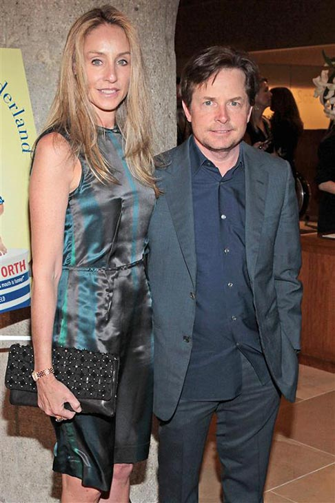 "<div class=""meta ""><span class=""caption-text "">Michael J. Fox and his wife Tracy Pollan  appear at the Ali In Wonderland: And Other Tall Tales Book Party at Sotheby's in New York on Feb. 6, 2012. (Kelly Jordan / Startraksphoto.com)</span></div>"