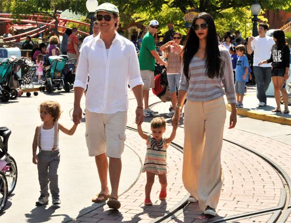 Matthew McConaughey and fiancee Camila Alves wed on June 9, 2012 in a ceremony in Austin Texas.  This is the first marriage for McConaughey. He and Alves, a Brazilian model, met in 2007. The actor reportedly wore a three-piece black Dolce &#38; Gabbana tuxedo while Alves wore a handmade wedding gown by her favorite Brazilian designer.  The couple became engaged on Dec. 25, 2011.  &#39;Just asked Camila to marry me, merry Christmas,&#39; the actor wrote on his WhoSay social networking page, alongside a photo of him kissing Alves.  The couple has two children - son Levi, born in July 2008, and daughter Vida, born in January 2010.  In December 2012, the couple welcomed their third child, a son named Livingston Alves McConaughey.  &#40;Pictured: Matthew McConaughey and girlfriend Camila Alves stroll through Mickey&#39;s Toontown in Disneyland, California with their children, son Levi and daughter Vida, on Wednesday, June 15, 2011.&#41; <span class=meta>(Lisa Rose &#47; Walt Disney Company)</span>
