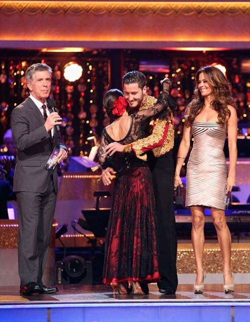 &#39;General Hospital&#39; actress Kelly Monaco and her partner Valentin Chmerkovskiy react to being safe from elimination on &#39;Dancing With The Stars: The Results Show&#39; on Tuesday, Oct. 9, 2012.  The pair received 27 out of 30 points from the judges for their Paso Doble on &#39;Dancing With The Stars: All-Stars,&#39; which aired on October 8, 2012. <span class=meta>(ABC Photo)</span>