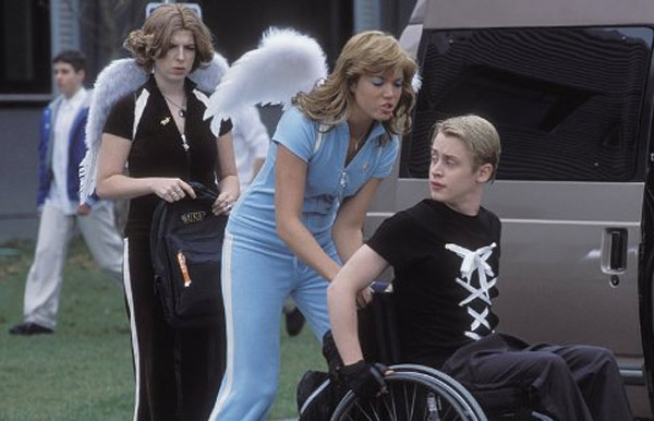 Macaulay Culkin, Mandy Moore &#40;center&#41; and Heather Matarazzo appear in a scene from the 2004 film &#39;Saved!.&#39;  The teen comedy stars Jenna Malone as Mary, a Christian school student whose friends turn on her after she becomes pregnant. Moore plays one of them, while Culkin portrays her brother, who is a paraplegic.  The movie also stars Patrick Fugit of &#39;Almost Famous&#39; fame as the school&#39;s principal and pastor, Eva Amurri as the school&#39;s sole Jewish student, Matarazzo as a girl who takes Mary&#39;s place in her former clique and Mary-Louise Parker as Mary&#39;s widowed mother. <span class=meta>(Metro-Goldwyn-Mayer Studios &#40;MGM&#41; &#47; United Artists)</span>