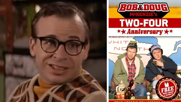 Rick Moranis appears as Louis Tully in the 1989 film 'Ghostbusters 2.' / Rick Moranis appears with Dave Thomas on the cover of the DVD of the 2007 documentary 'Bob and Doug McKenzie's Two-Four Anniversary.'
