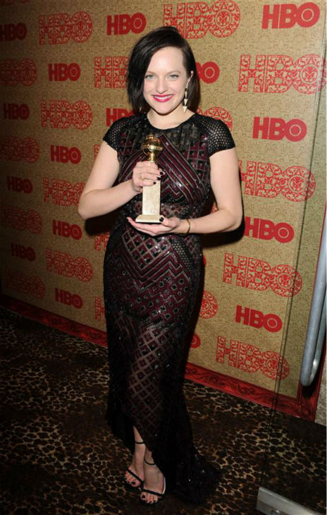 "<div class=""meta ""><span class=""caption-text "">Elisabeth Moss (Peggy on AMC's 'Mad Men' and winner of Golden Globe for 'Top of the Lake') appears at HBO's 2014 Golden Globe Awards after party at the Circa 55 restaurant in Beverly Hills, California on Jan. 12, 2014. (Tony DiMaio / Startraksphoto.com)</span></div>"