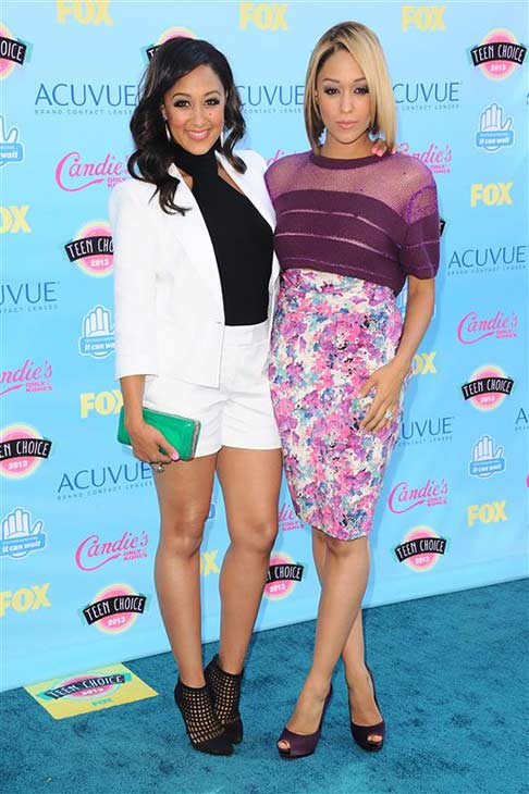 Tia Mowry-Hardrict and twin sister Tamera Mowry-Housely &#40;&#39;Sister, Sister,&#39; &#39;Tia and Tamera&#39;&#41; appear at the 2013 Teen Choice Awards in Universal City, California on Aug. 11, 2013. <span class=meta>(Kyle Rover &#47; Startraksphoto.com)</span>
