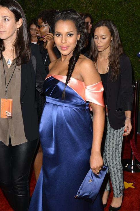 Kerry Washington of ABC&#39;s &#39;Scandal,&#39; who is pregnant, appears at the 2014 NAACP Image Awards in Pasadena, California on Feb. 22, 2014. <span class=meta>(Tony DiMaio &#47; Startraksphoto.com)</span>