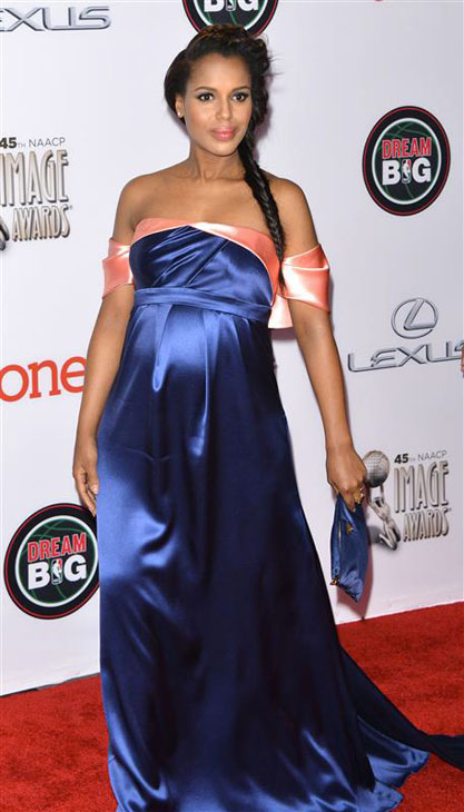 Kerry Washington of ABC's 'Scandal,' who is pregnant, appears at the 2014 NAACP Image Awards in Pasadena, California on Feb. 22, 2014.