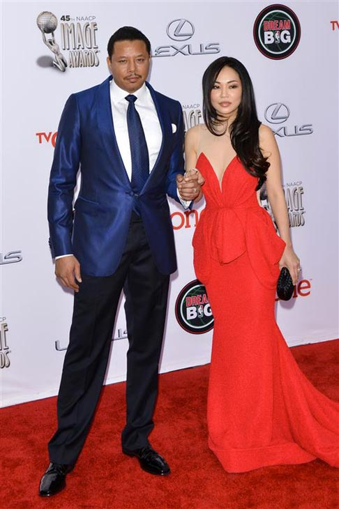Terrence Howard and wife Mira Christine Pak  appear at the 2014 NAACP Image Awards in Pasadena, California on Feb. 22, 2014. <span class=meta>(Tony DiMaio &#47; Startraksphoto.com)</span>
