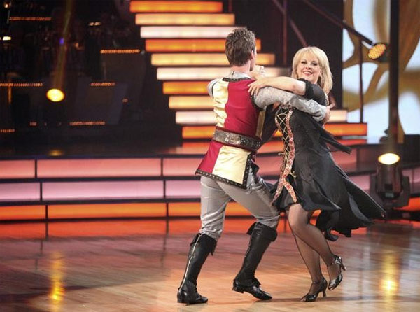 "<div class=""meta ""><span class=""caption-text "">Nancy Grace returned to the ballroom for a final performance with partner Tristan MacManus on 'Dancing With The Stars: The Results Show,' on Tuesday, November 22, 2011. (ABC / Adam Taylor)</span></div>"