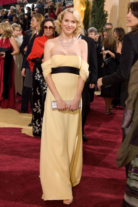 "<div class=""meta ""><span class=""caption-text "">Naomi Watts arrives at the 79th Annual Academy Awards at the Kodak Theatre in Hollywood, Calif. on Sunday, Feb. 25, 2007. The actress stunned in a custom-made yellow gown by Escada. The Australian actress completed her look with jewels by Chopard.  The 2013 Oscar ceremony is scheduled to air February 24 on ABC.  (A.M.P.A.S.)</span></div>"