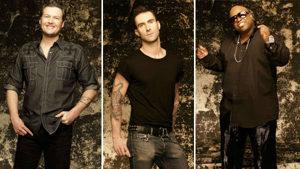 Reality category: 'The Voice' hosts Blake Shelton, Adam Levine and Cee Lo Green each earn $75,000 per episode, according to TVGuide.com. (Pictured: Blake Shelton, Adam Levine and Cee Lo Green appear in promotional photo for 'The Voice.')