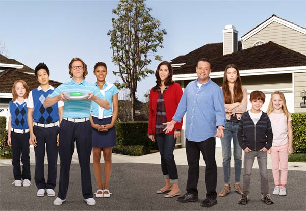 &#39;The Neighbors,&#39; a new ABC series about a family who moves into a neighborhood inhabited by quirky aliens, premieres on September 26 at 9:30 p.m. ET. The series will air on Wednesdays from 8:30 until 9 p.m. ET after October 3, 2012.  The show stars Jami Gertz, formerly of the sitcom &#39;Still Standing,&#39; and Lenny Venito as human parents of two children, while Simon Templeman and Toks Olagundoye play their neighbors, an alien couple who also have a child.   &#39;The Neighbors&#39; will see the newcomers, who are disguised in human form, learning first-hand about ordinary things people do daily that they are unaccustomed to - kissing, shopping at malls and going to work.  &#39;It&#39;s got to have heart, more than anything it&#39;s gotta have heart,&#39; Executive producer Aaron Kaplan told OnTheRedCarpet.com and other outlets at ABC&#39;s Television Critics Association panel on July 27, 2012. &#39;An animated sitcom can do gag after gag after gag. We can&#39;t do that. we have to ground it in the human stories, in the heart. it&#39;s gotta be grounded with the family.&#39;  The aliens&#39; names may sound familiar as well. That is because they are the names of actual human athletes. Templeman plays NBA player Larry Bird, while Olagundoye, his wife, portrays Jackie Joyner-Kersee, a retired Olympic gold medal-winning athlete who competed in the women&#39;s heptathlon and long jump in the 1980s and 1990s.   Kaplan said that showrunners had to obtain permission to use the athletes&#39; names and that many were changed at the last minute. Templeman&#39;s character, for example, was originally named Wilt Chamberlain, an NBA player who died in 1999.  Kaplan said many living atheletes whose names are used on the show are &#39;really actually responding to it and they actually think it&#39;s cool to have an alien named after them.&#39;  <span class=meta>(ABC &#47; Craig Sjodin)</span>