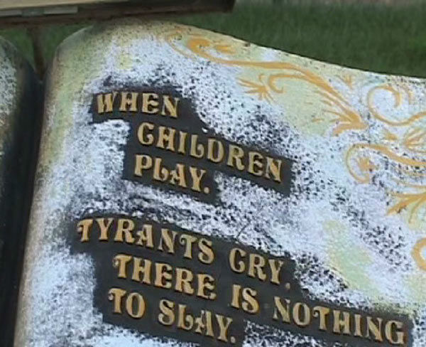 A stone book with a personal inscription by Michael Jackson is seen at the singer&#39;s Neverland Ranch in California in this undated video that was played during his wrongful death trial in Los Angeles on June 26, 2013. His family is suing concert promoter AEG Live. <span class=meta>(OTRC &#47; Official trial exhibit - Los Angeles Superior Court)</span>