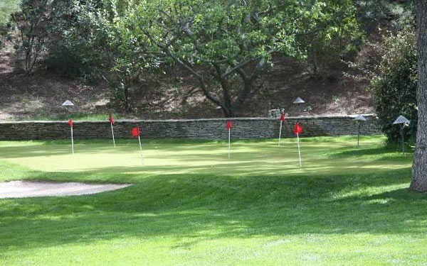 A putting course Jack Nicholson's Malibu estate. The three-bedroom, two-bathroom house lies of about70 acres of land and was put on the market in the spring of 2011 for $4.25 million.