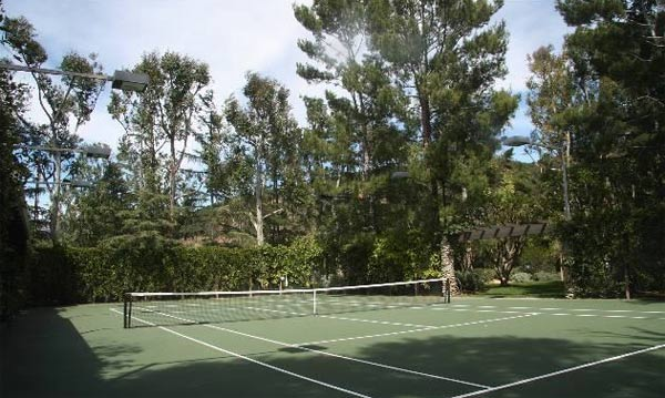 A tennis court inside Jack Nicholson's Malibu estate. The three-bedroom, two-bathroom house lies of about 70 acres of land and was put on the market in the spring of 2011 for $4.25 million.